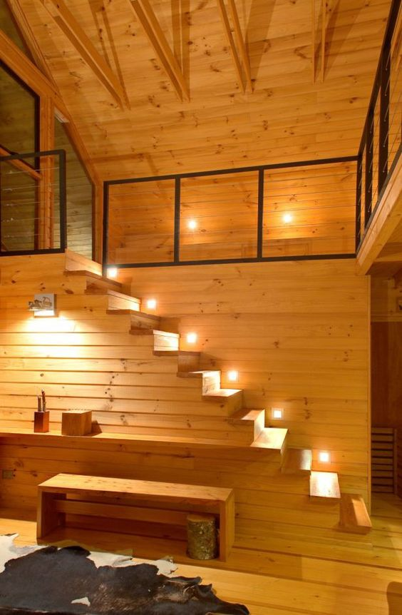 tiny house plans with loft. Lights for the stairs!: