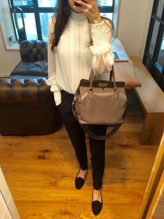 Zara turtleneck shirt and pants, black velvet slippers, Hermes Toolbox 26.