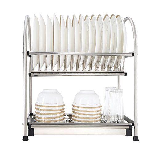 Dish Drying Rack For Cookware 2 Tier 304 Stainless Steel Dish
