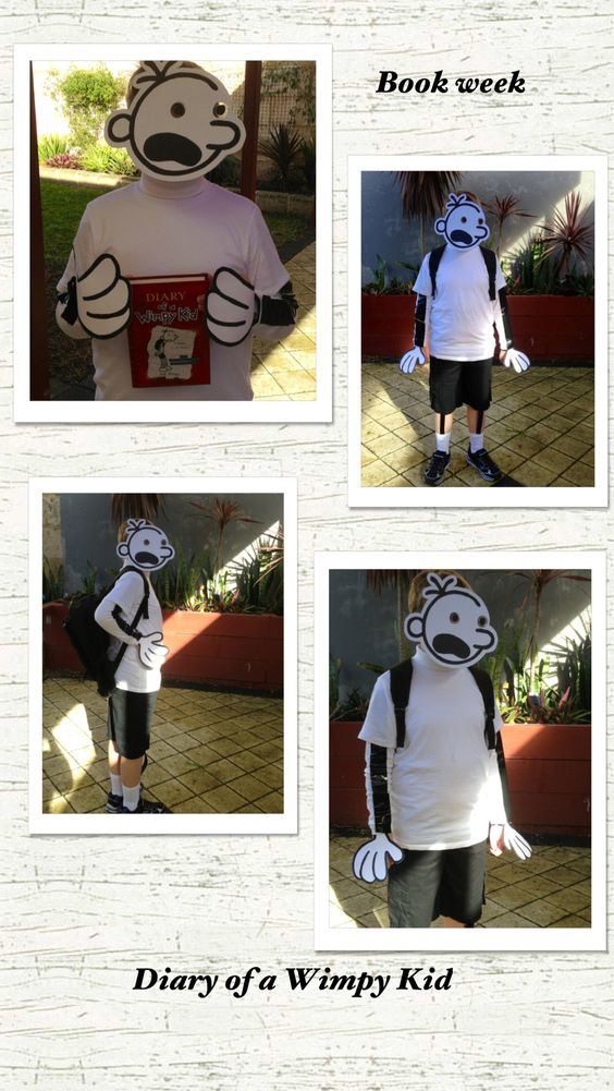 Book week costume diary of a wimpy kid crafty for Diary of a wimpy kid crafts
