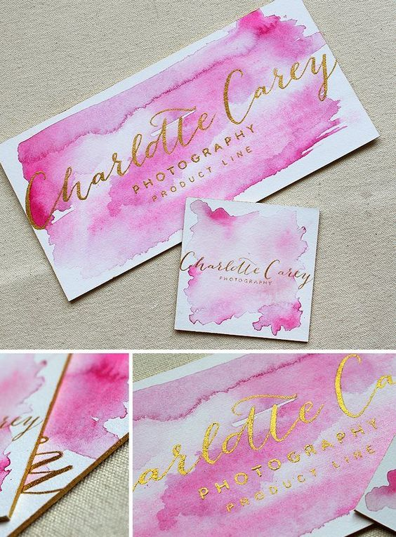 Business cards ideas for small business and bloggers | Watercolor Branding Stationery