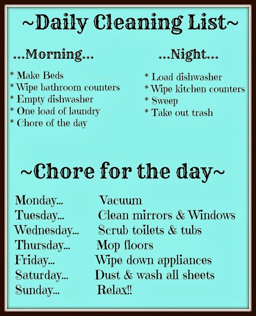 FREE daily cleaning list printable. great ideas to have your house stay organized. Wouldn't it be nice if I could manage to do this?: