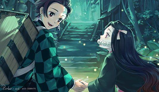 Kimetsu No Yaiba Anime Kamado Tanjirō Kamado Nezuko Demon Girl 1080p Wallpaper Hdwallpaper Desktop Anime Slayer Anime Demon Girl