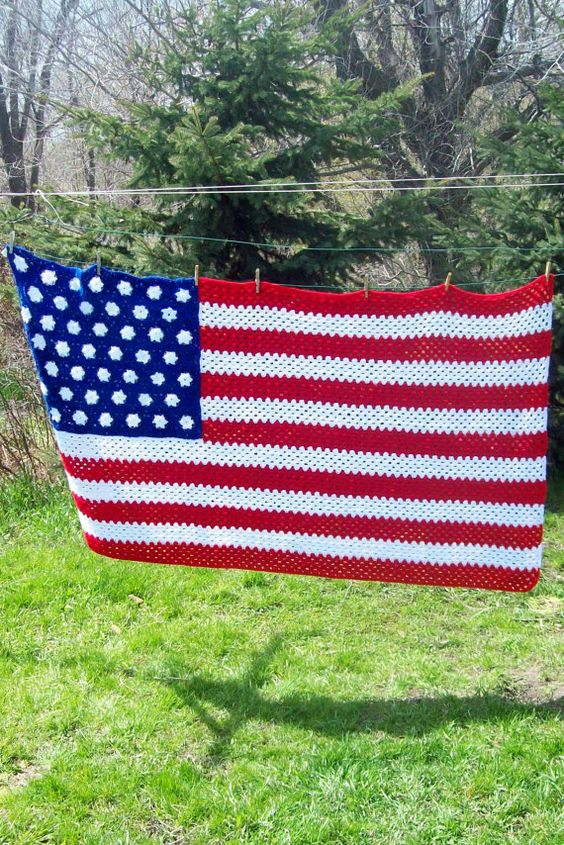 American Flag Afghan, Crochet Afghan, Made To Order ...