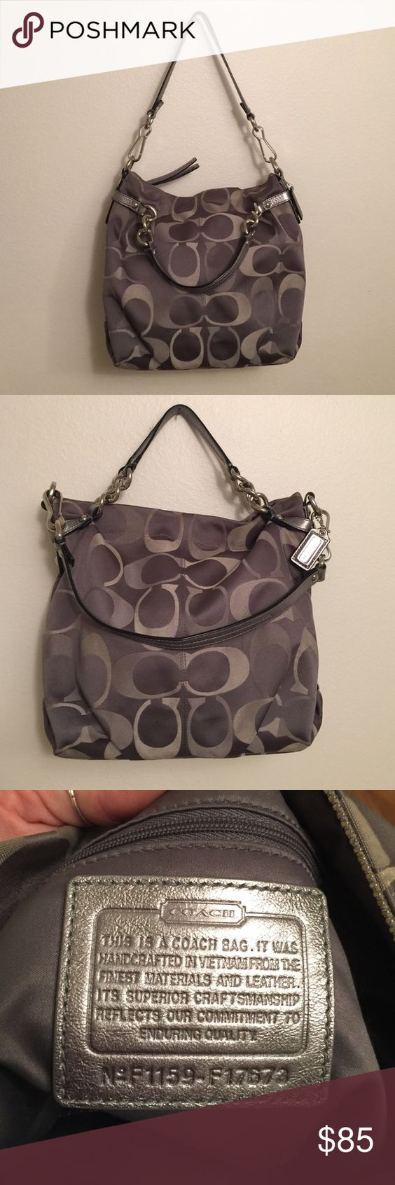 Grey signature Coach purse Authentic grey signature Coach purse with silver hardware. Can be worn over the shoulder as a hobo style purse or remove the shoulder strap and carry it as a handbag. Only used a few times. Coach Bags Hobos