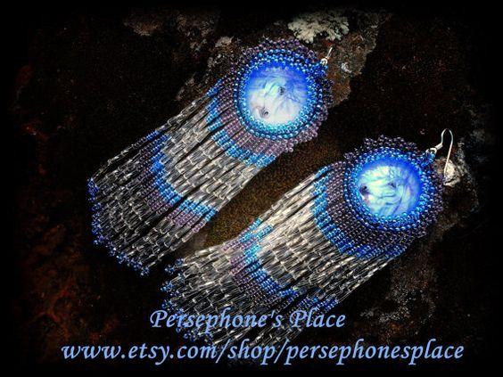 Unicorn Beaded Fringe Earring by PersephonesPlace on Etsy, $55.00