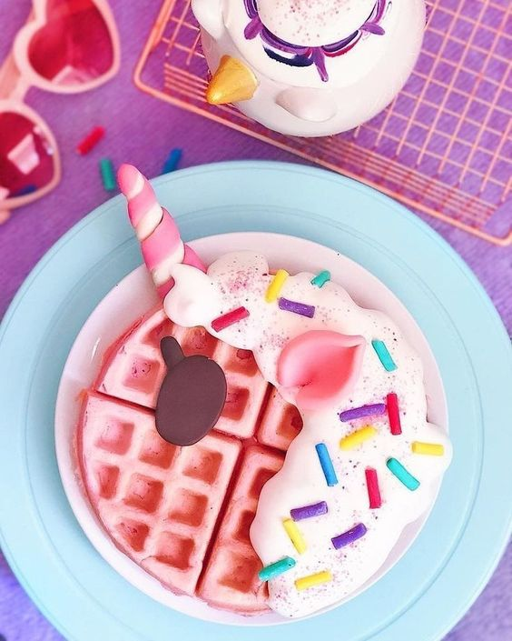 "Yummy Luna on Instagram: ""Good morning everybody! 🌤🌈 ... I hope your Sunday begins as magically as these pink unicorn waffles 🍭🦄🌈✨ ... Enjoy your family and friends…"""