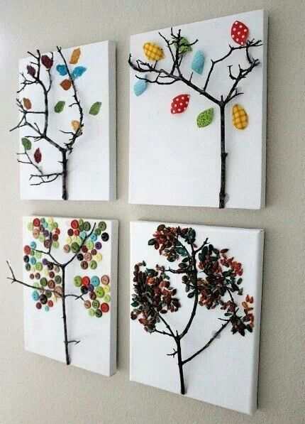 Glue a branch to canvas and use anything to make leaves. Something the kids can help make to take pride in our home.