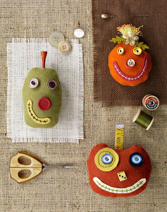 Silly Pumpkin Pincushions