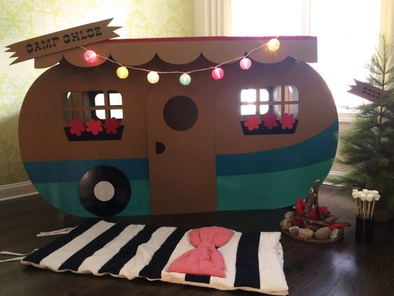 """Adorable DIY camper - the perfect """"play zone"""" at an indoor camping-themed party! #kidsparty #partyidea"""
