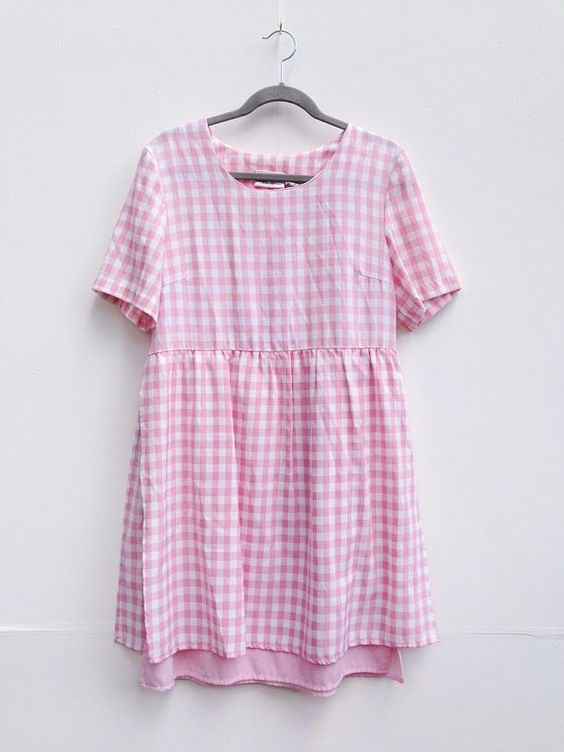 Pink and white gingham apron style smock dress- m-l - Style- Smock ...