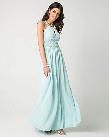 Jewel Embellished Chiffon Halter Gown