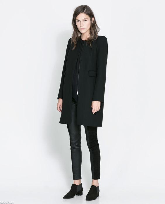 11-11-2013 cute basic classic coat @ home ZARA black coat | 2