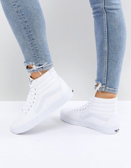 Vans Sk8 Hi Sneakers In White | Baskets blanches, Basket montante ...