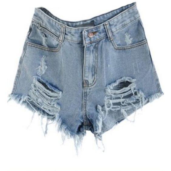 Blue Mid Waist Ripped Denim Shorts ($16) ❤ liked on Polyvore