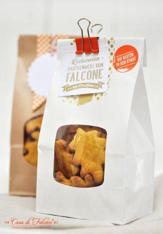 Papierbeutel I Blockbodenbeutel I Homemade Stempel I personalisierter Stempel I Keksverpackung I Casa di Falcone