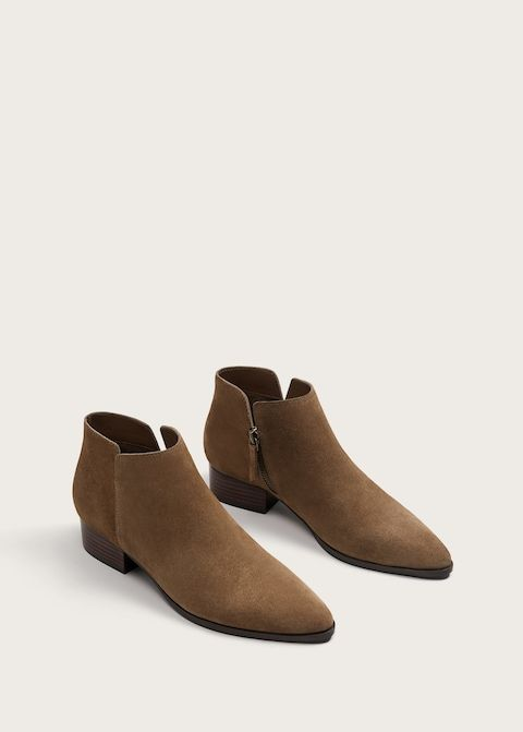 Moda Para Mulher Em Tamanhos Grandes Mango Shoes Brown Suede Ankle Boots Womens Brown Flats