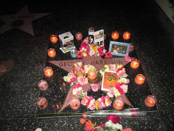 beautiful tributes left on George's Hollywood Walk Of Fame star for his birthday