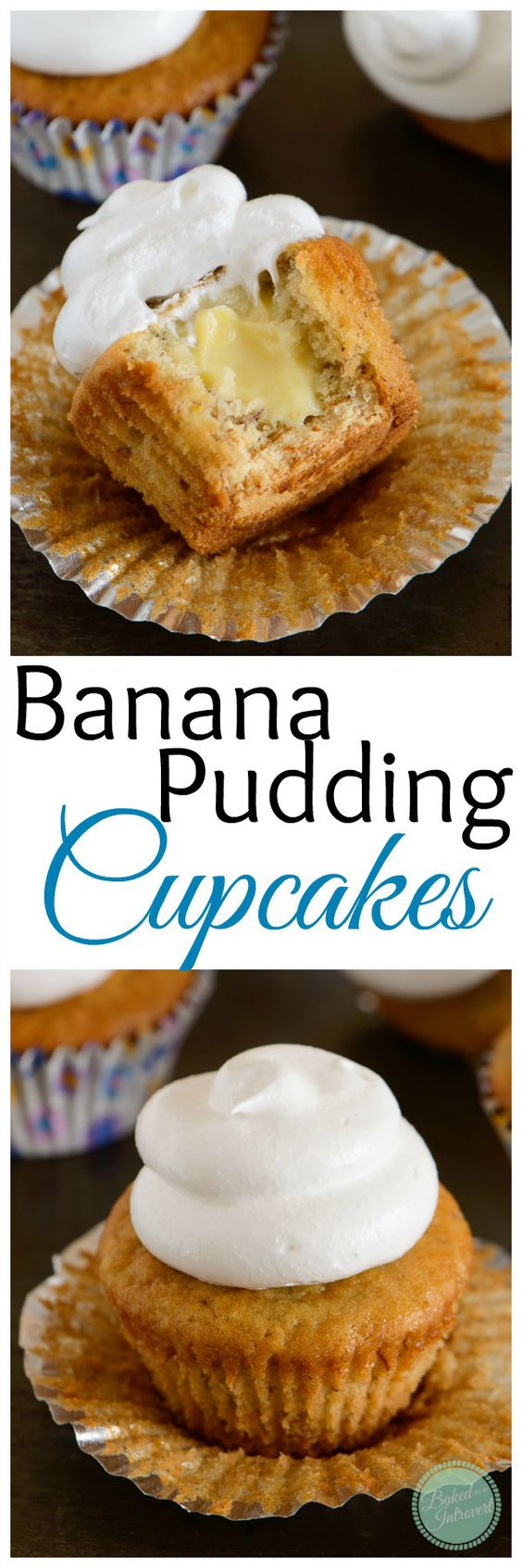The ultimate homemade banana pudding… in a CUPCAKE! Super-moist banana cupcakes with a nilla wafer bottom, filled with vanilla pudding, and topped with marshmallow frosting.