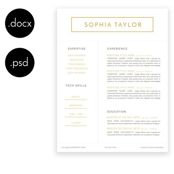 Sophia Taylor Minimalist Resume Resume, Taylors and Colours - minimalist resume template