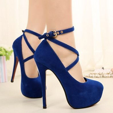 royal blue high heels woman shoes ankle strap black heels elegant ...