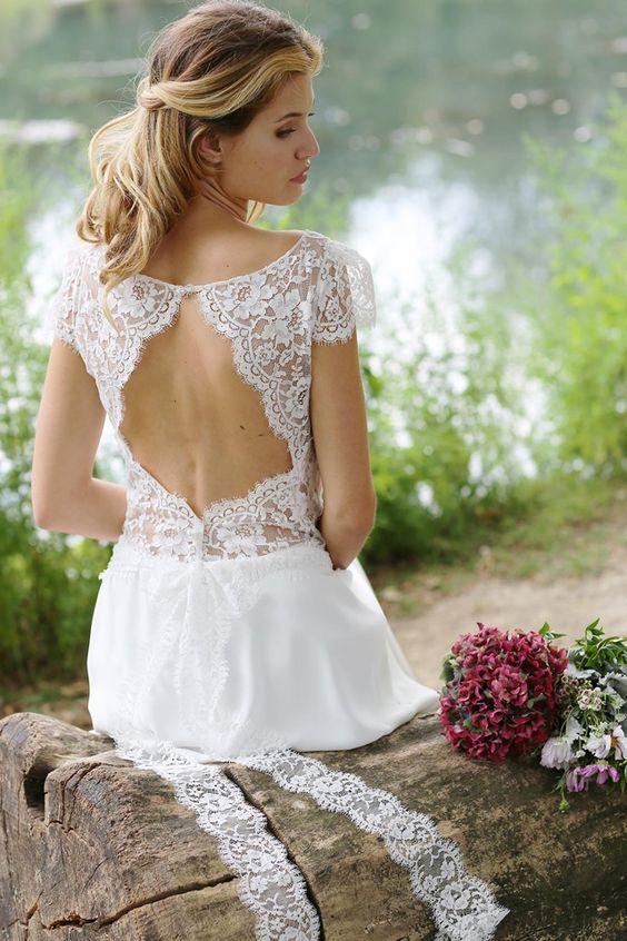 Robe de mariée dos nu, style bohème romantique - Robe: Marie Laporte ...