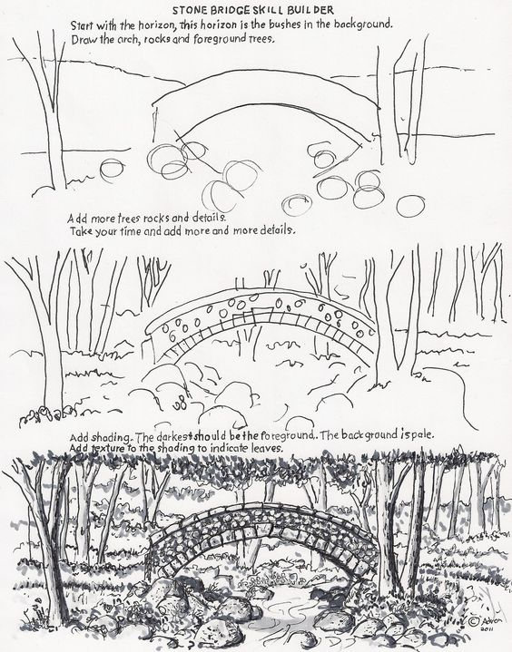 how to draw the arch bridge worksheet drawing and painting pinterest worksheets arch and bridge - Japanese Garden Bridge Drawing