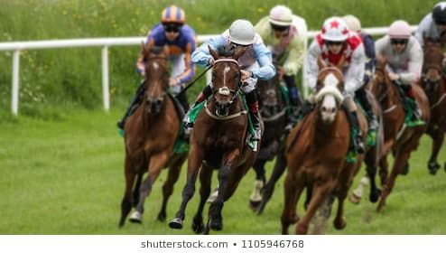 Head On View Of Galloping Race Horses And Jockeys Racing Horses Horse Racing Racing