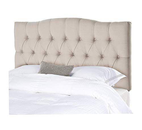 Wood Style Taupe Linen Upholstered Tufted Headboard King Comfy
