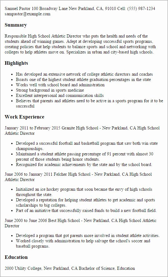 Student Athlete Resume Template New High School Athletic Director Resume Template Best In 2020 High School Resume Resume Skills Good Resume Examples