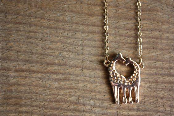Gold GiraffeNecklace Bridesmaid Gift Wedding by HoneyBeeCharmed