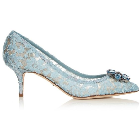 Dolce & Gabbana Crystal-embellished lace pumps ($780) ❤ liked on ...