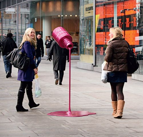 Fun idea for Rimmel Quick Dry Nail Polish by JWT London. These larger than life sculptures were placed out on sidewalks in front of retail stores. Life-size versions were also created for point of sale counters.