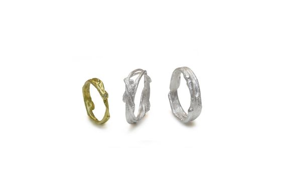 Ring <em>Birch branch</em>. Variations in silver and gold. Available in all precious metals.