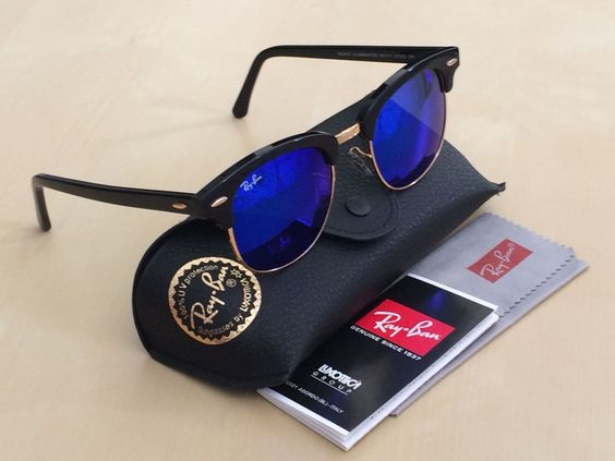 ray ban clubmaster 51mm black  Ray Ban CLUBMASTER RB3016 51mm Black \u0026 Gold Frame Blue Flash Lens ...