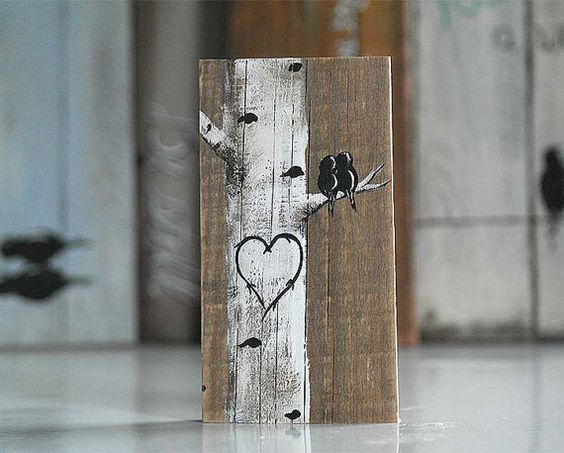 Rustic Wood Signs Love Gift Wood Sign Love Bird Painting