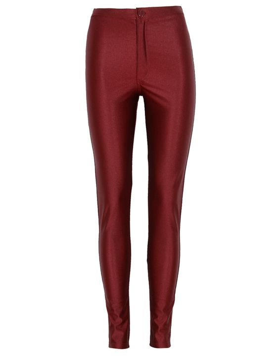 Burgundy Shiny Wet Look High Waist Disco Pants € 29.22 #chiarafashion