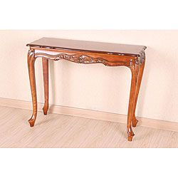 @Overstock - This beautiful hand carved table can serve as the statement piece of furniture in any room. The elaborate detailing and scalloped edging create an elegant look. You will be proud to display family heirlooms on a table this beautiful.http://www.overstock.com/Home-Garden/Hand-carved-Wood-Scalloped-Hall-Table/4820377/product.html?CID=214117 $134.99