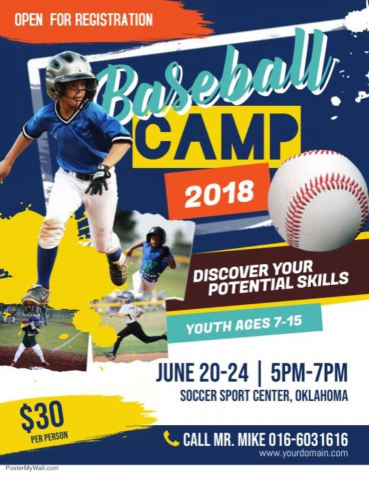 Baseball Camp Flyer Poster Baseball Camp Baseball Baseball Posters