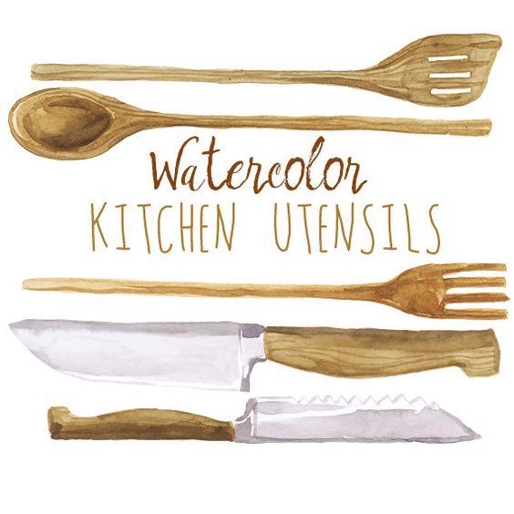 Aquarell Küche Geschirr ClipArt von DigitalPressCreation auf Etsy