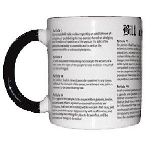 Civil Liberties Mug, NorthernSun.com $13, add a hot beverage and watch the Bill of Rights disappear!