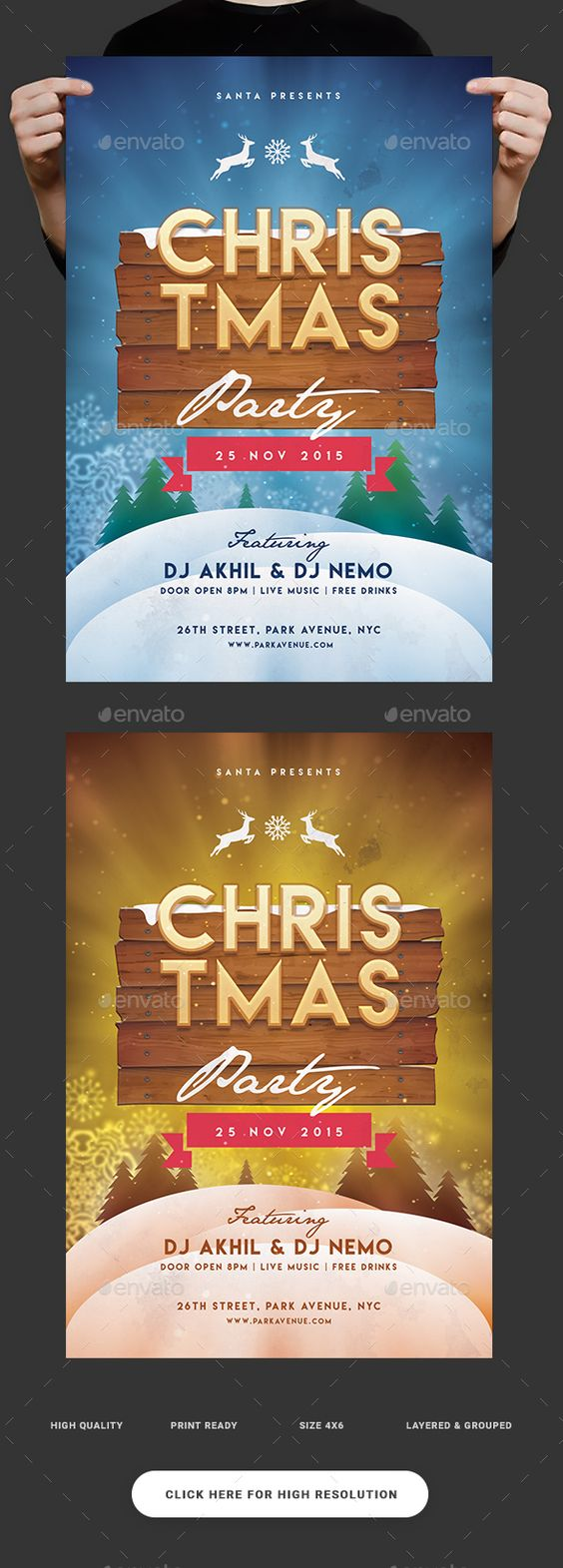 the world s catalog of ideas christmas flyer design template clubs parties events flyer design template psd here