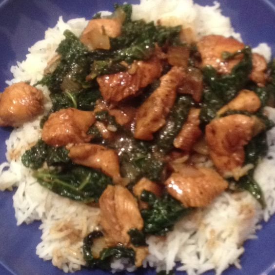 Voila! Dinner is served (spicy chicken and green stir fry with peanuts ...