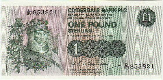 Clydesdale Bank One Pound Note. (1982)