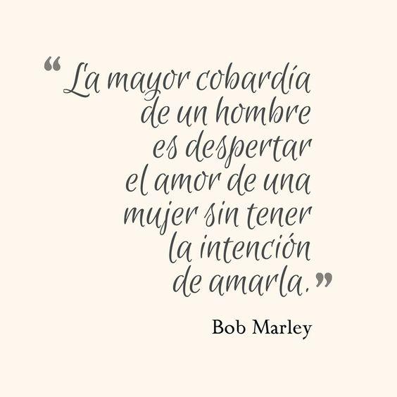 """""""La mayor cobardía de un hombre es despertar el amor de una mujer sin tener la intención de amarla"""" *Bob Marley*"""