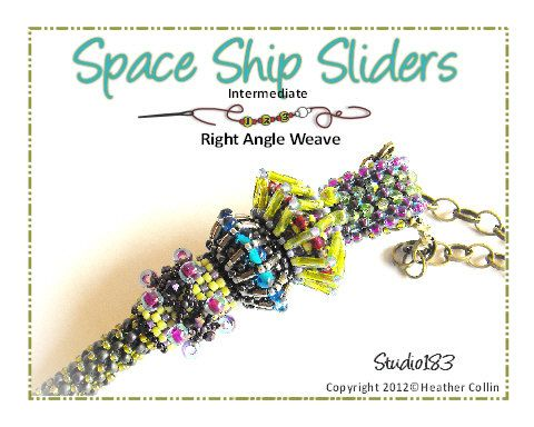 A Step by Step Right Angle Weave Beading Pattern with full colour diagrams and a written Beading Tutorial on how to make Space Ship Slider beads. PLEASE NOTE! This pattern is for the top bead only. It does not include the pendant or the 2 other slide on beads This is a great add on pattern for your Sabine Necklace.