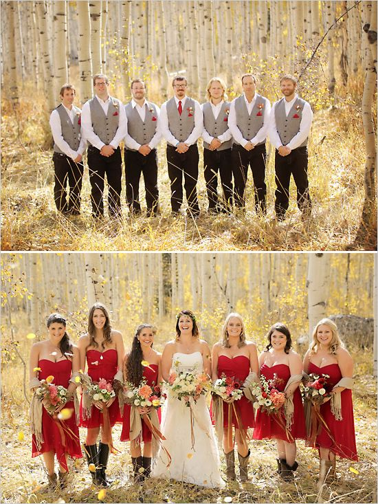 The ultimate fall wedding wedding boots and red rustic for Country wedding party dresses
