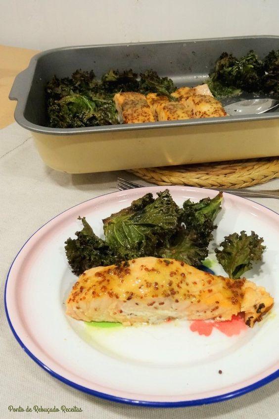 """Ponto de Rebuçado Receitas: Lombos de salmão com mostarda e """"crispy kale"""""""