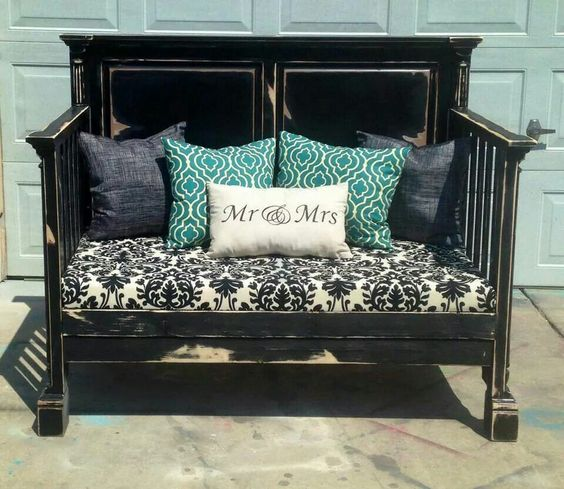 Re-D-fined Furniture Black And Turquoise Bench