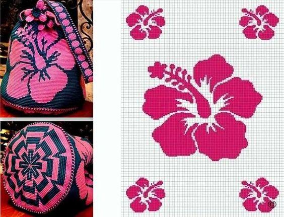 Bolsas Wayuu patrón de ganchillo: